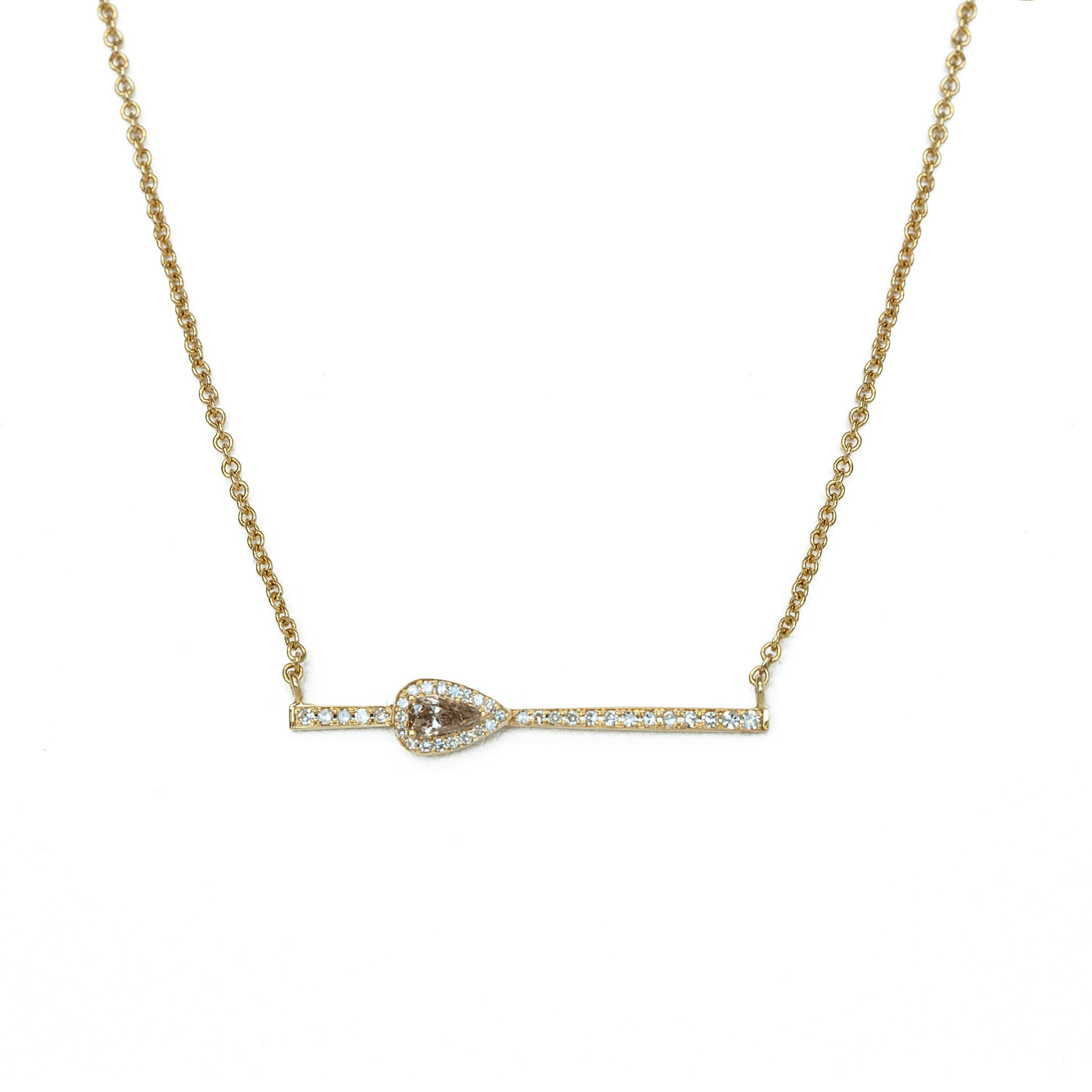 Diamond Bar Necklace with Fancy Colored Shield Diamond