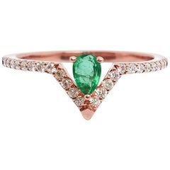 Emerald Pear and Diamond Ring