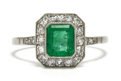 Colombian Emerald Engagement Ring Diamond Halo Octagon Platinum Art Deco Style