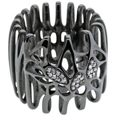 FLOWEN Sterling Silver Radix Cocktail Ring in Black ruthenium with ice diamonds