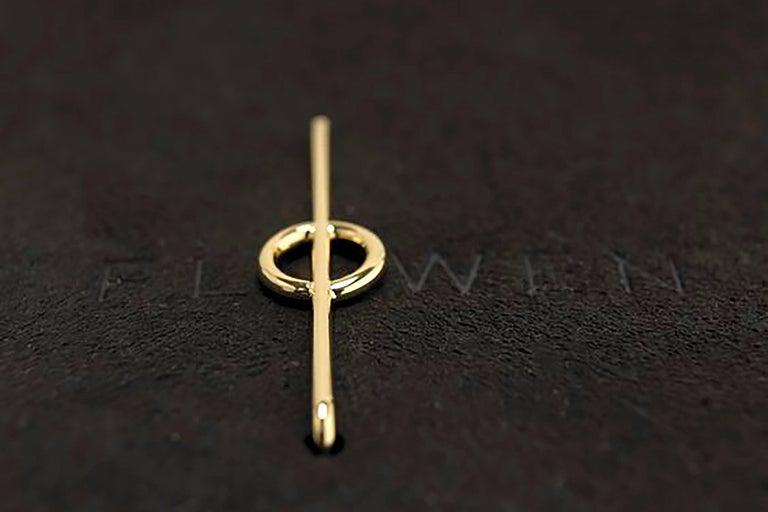 Contemporary FLOWEN Sterling Silver Goda Hoop Earrings in Rose Gold For Sale