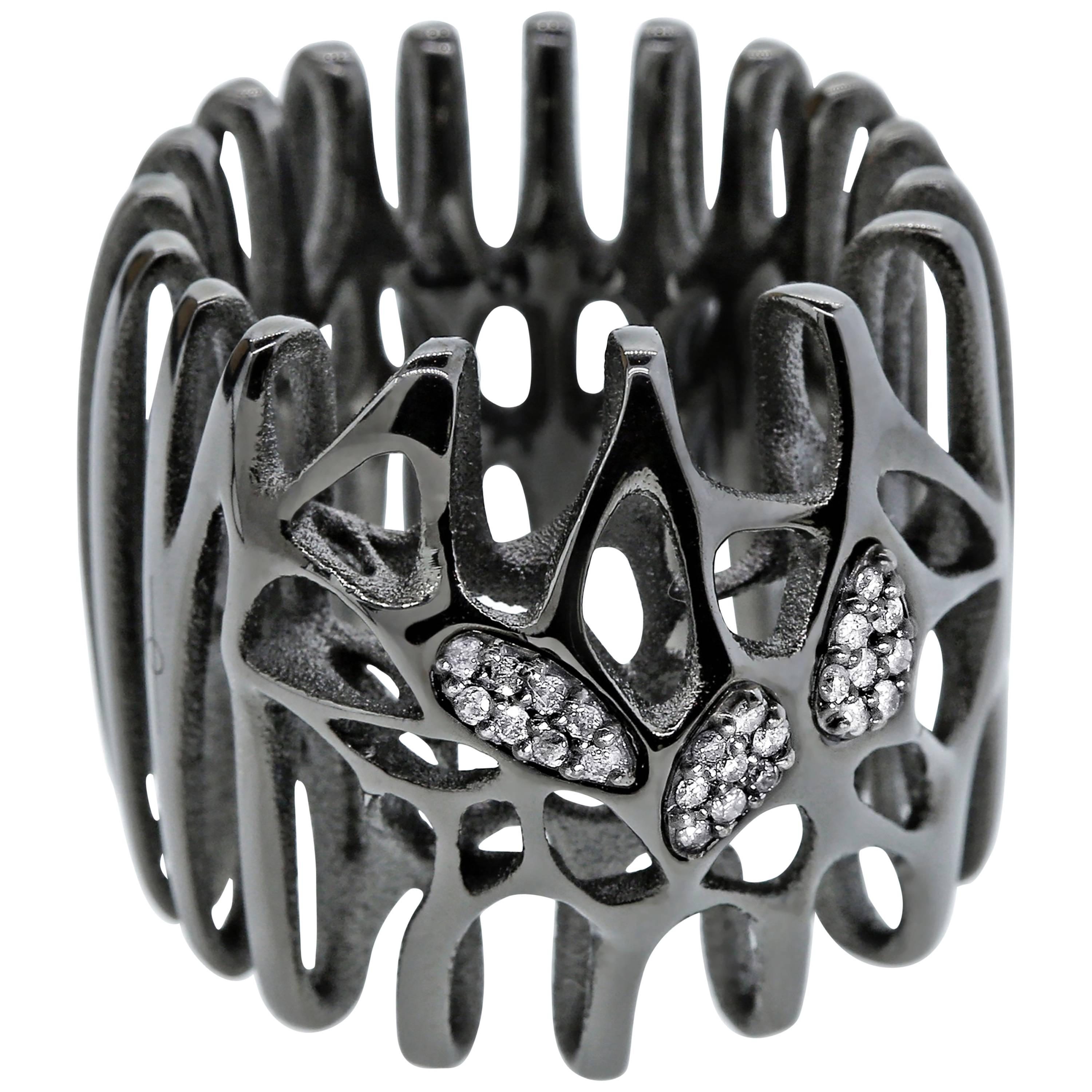FLOWEN Sterling Silver Radix Cocktail Ring in Black Ruthenium and Diamonds