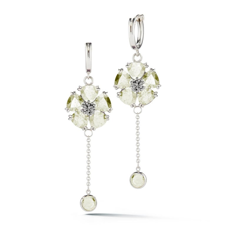 Trillion Cut Olive Peridot Blossom Small Hoop Earrings For Sale