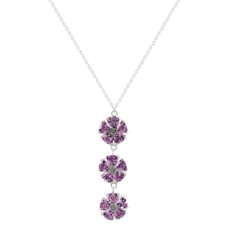 .925 Sterling Silver Amethyst Triple Blossom Stone Lariat