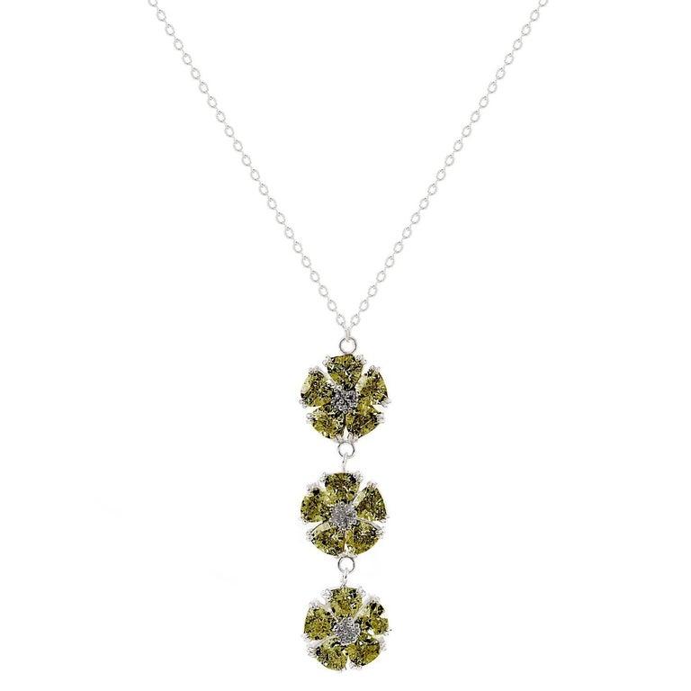 .925 Sterling Silver, Olive Peridot Triple Blossom Stone Lariat