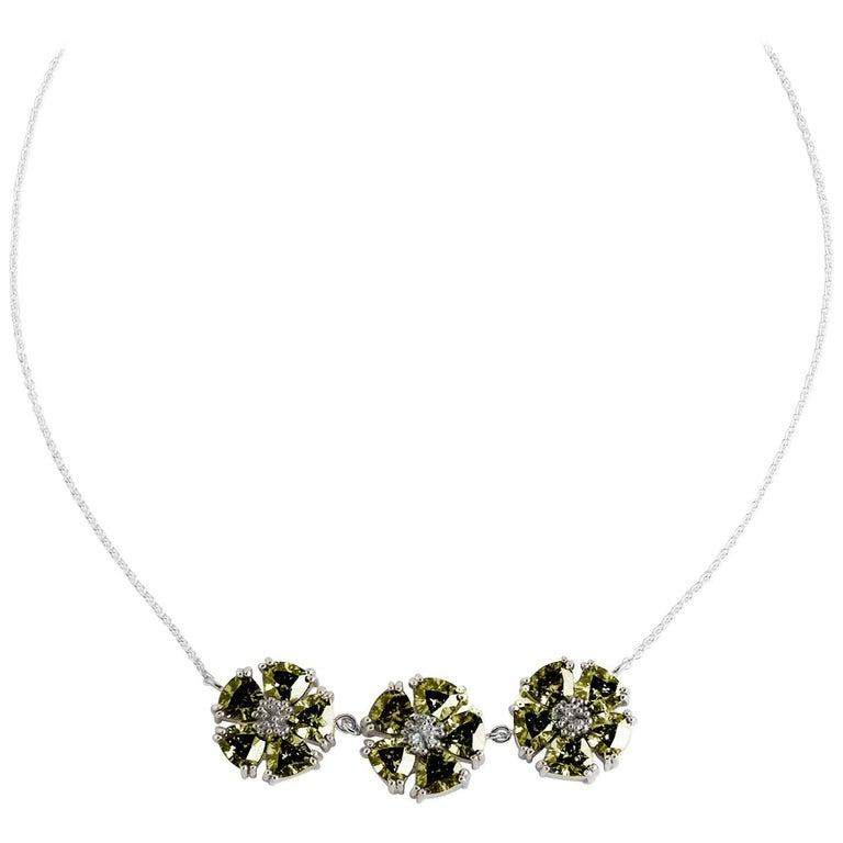 .925 Sterling Silver, Olive Peridot, 123 Blossom Stone Necklace