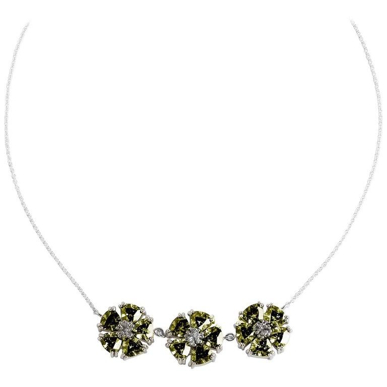 Olive Peridot 123 Blossom Stone Necklace