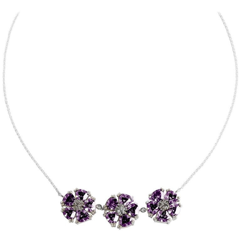 .925 Sterling Silver Amethyst 123 Blossom Stone Necklace