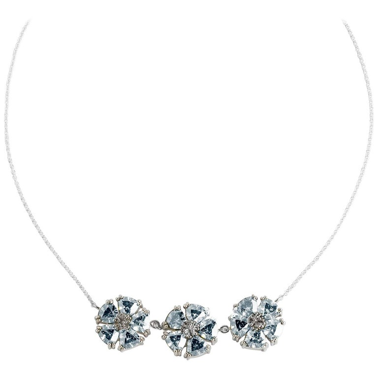 .925 Sterling Silver Light Blue Sapphire 123 Blossom Stone Necklace