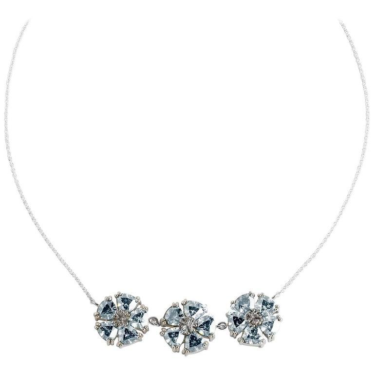 Light Blue Sapphire 123 Blossom Stone Necklace