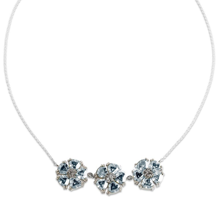 Modern White Sapphire 123 Blossom Stone Necklace For Sale