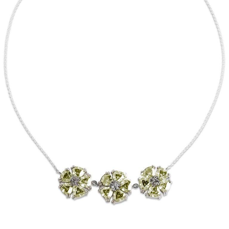 Trillion Cut White Sapphire 123 Blossom Stone Necklace For Sale