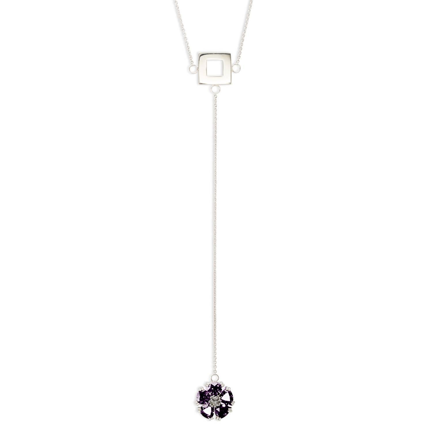 Amethyst Blossom Stone and Square Lariat Necklace