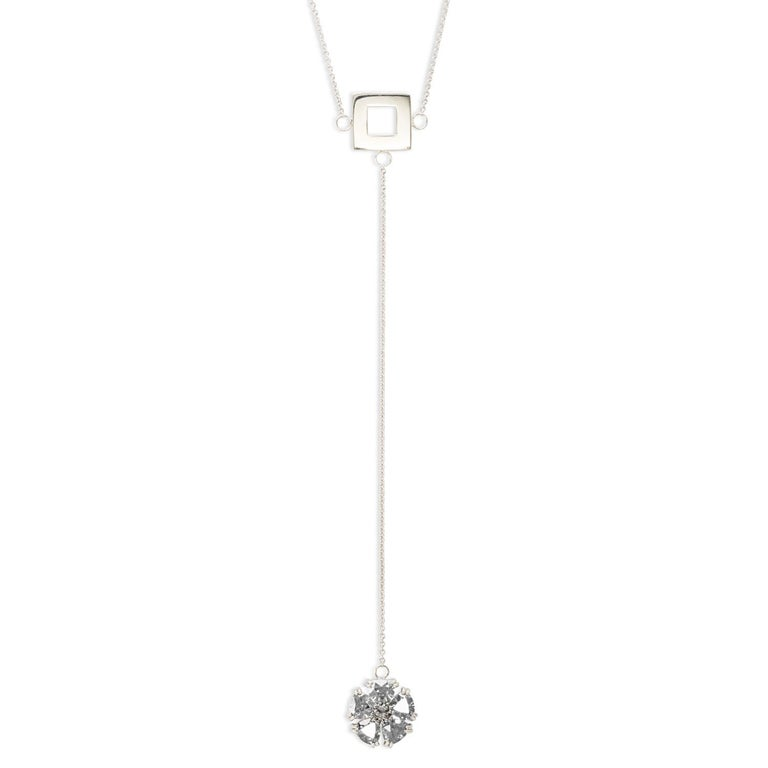 Designed in NYC  .925 Sterling Silver 5 x 7 mm Amethyst Blossom Stone Square Lariat. A contemporary twist on blossom, incorporating our favorite square, effortlessly worn day or night.  Blossom stone and square lariat:   	Sterling silver