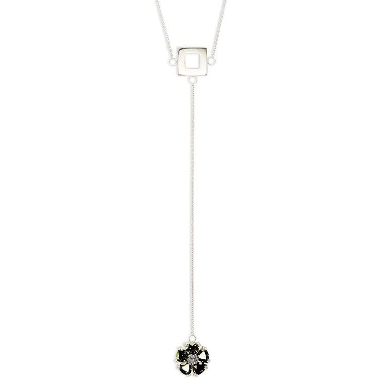 .925 Sterling Silver, Olive Peridot, Blossom Stone Square Lariat