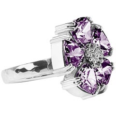 .925 Sterling Silver Amethyst Blossom Stone Ring