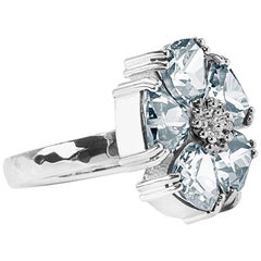 .925 Sterling Silver, Light Blue Sapphire Blossom Stone Ring