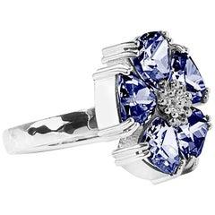 .925 Sterling Silver Dark Blue Sapphire Blossom Stone Ring