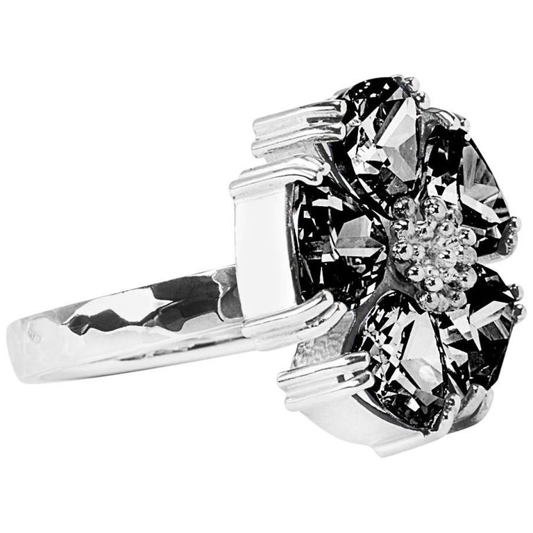 .925 Sterling Silver Black Sapphire Blossom Stone Ring