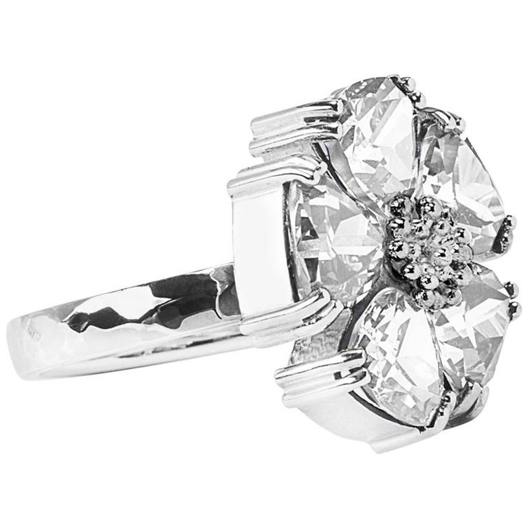 .925 Sterling Silver, White Sapphire Blossom Stone Ring