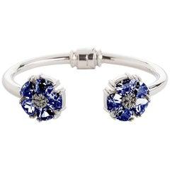 .925 Sterling Silver Dark Blue Sapphire M/L Blossom Stone Hinge Bracelet