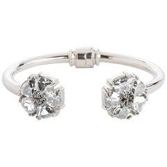 .925 Sterling Silver White Sapphire M/L Blossom Stone Hinge Bracelet