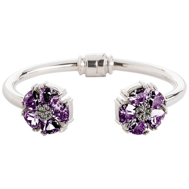 .925 Sterling Silver Amethyst M/L Blossom Stone Hinge Bracelet