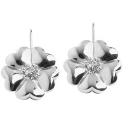 .925 Sterling Silver Blossom Wire Hook Earrings