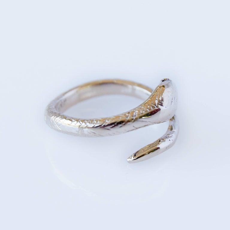White Diamond Snake Ring Adjustable Onesie Bronze J Dauphin