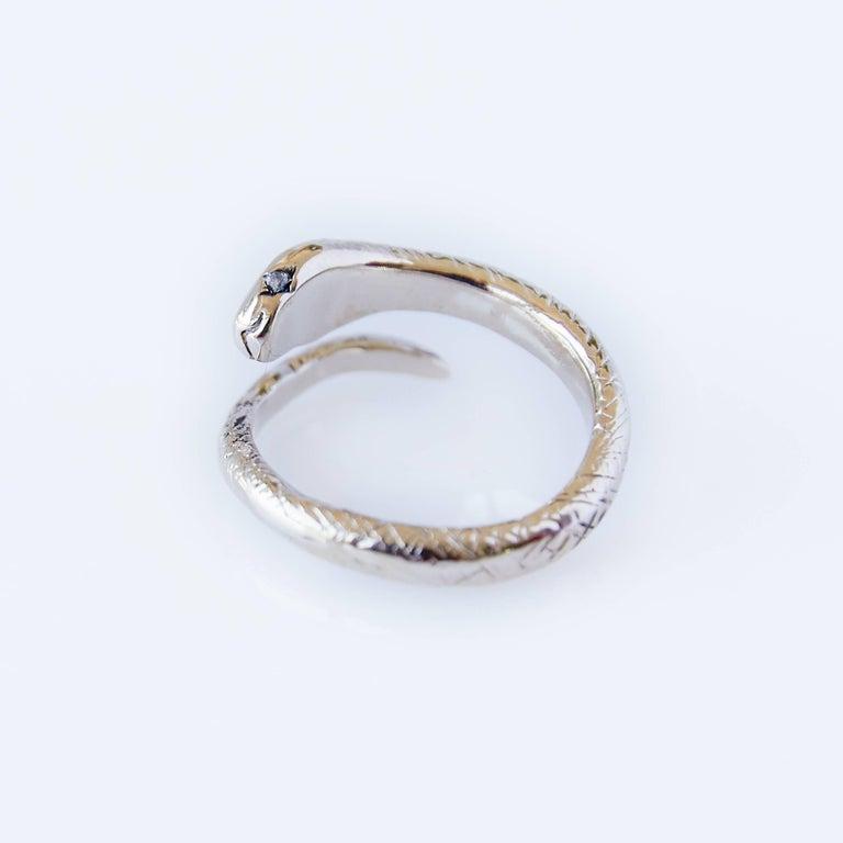 Round Cut White Diamond Snake Ring Adjustable Onesie Bronze J Dauphin For Sale