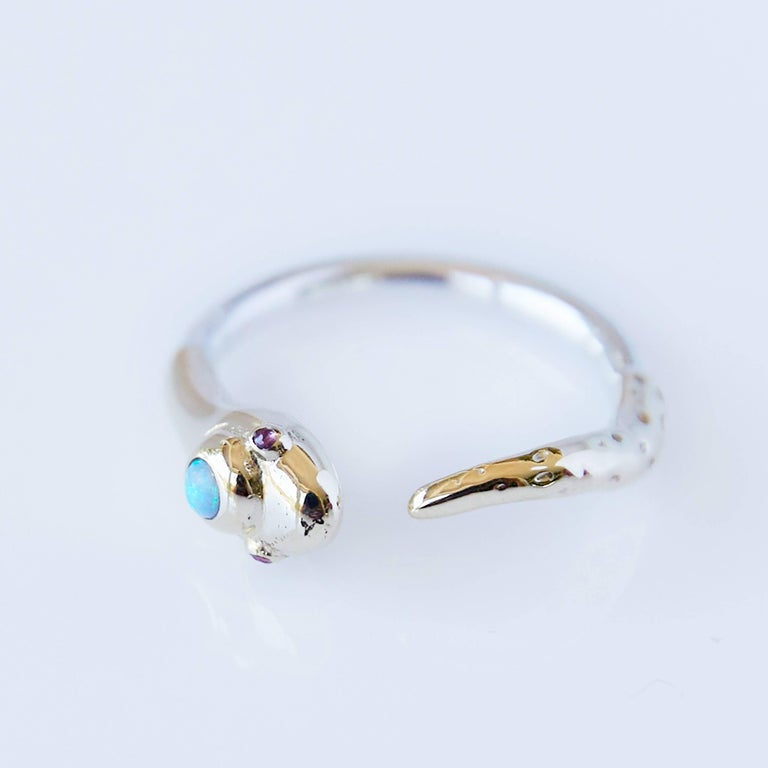 Round Cut Opal Ruby Snake Ring Gold Adjustable Cocktail Ring Fashion J Dauphin  For Sale