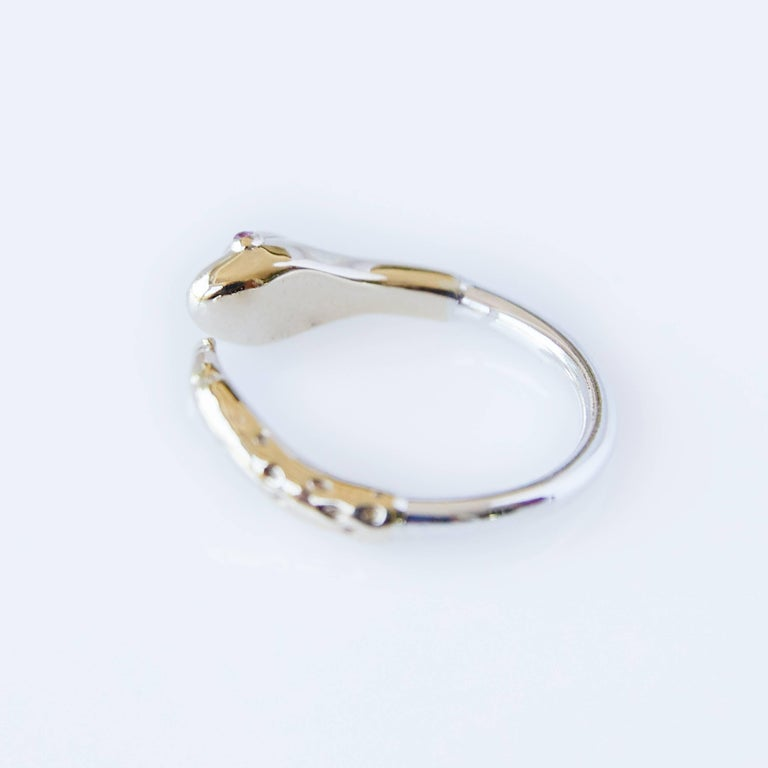 Opal Ruby Snake Ring Gold Adjustable Cocktail Ring Fashion J Dauphin  In New Condition For Sale In Los Angeles, CA