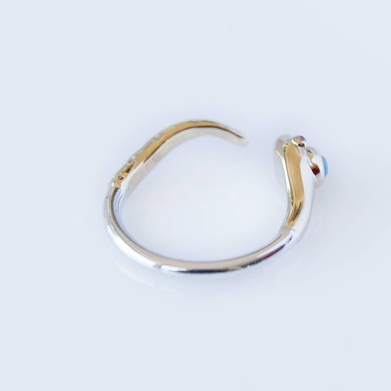 Women's Opal Ruby Snake Ring Gold Adjustable Cocktail Ring Fashion J Dauphin  For Sale
