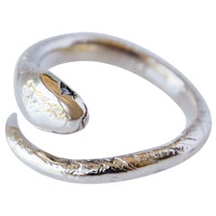 Snake Ring White Sapphire Bronze Open Adjustable J Dauphin