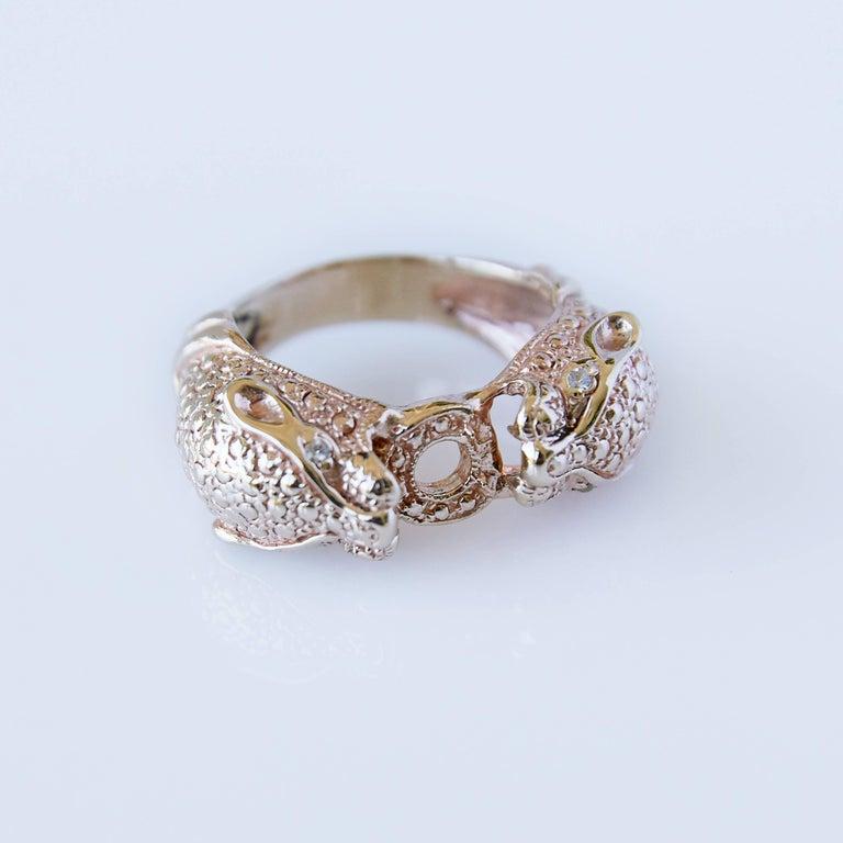 White Diamond Jaguar Head Ring J DAUPHIN