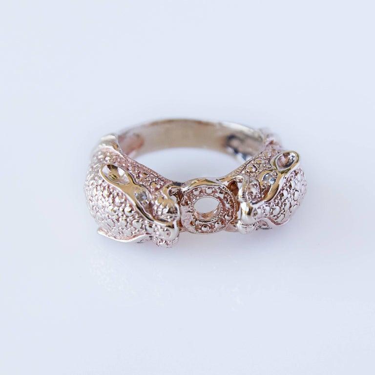 Contemporary White Diamond Jaguar Head Ring For Sale