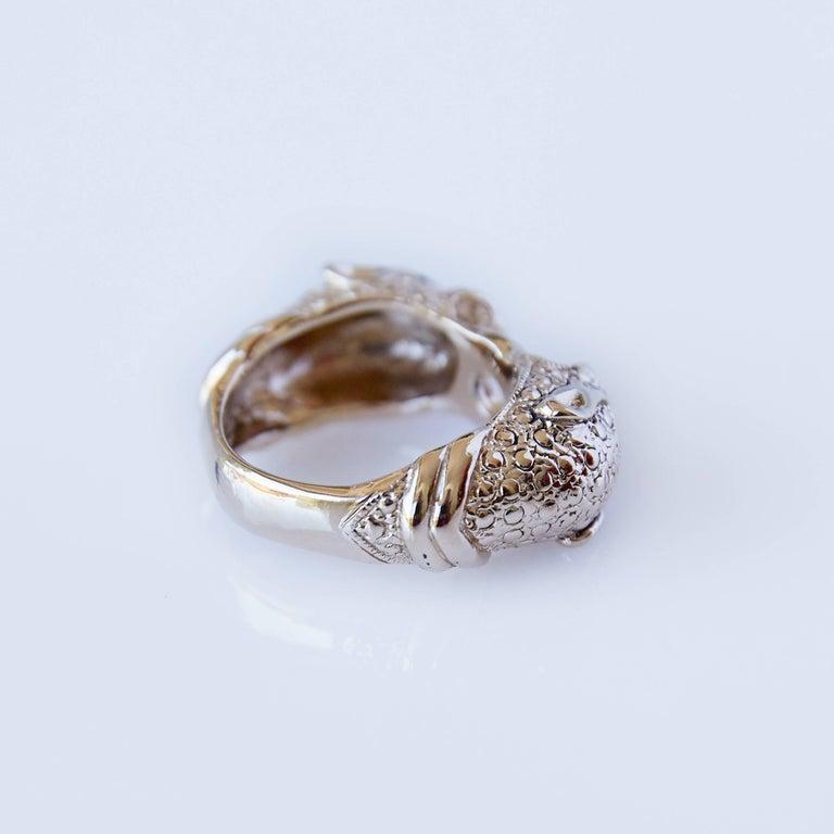 Round Cut White Diamond Jaguar Head Ring For Sale