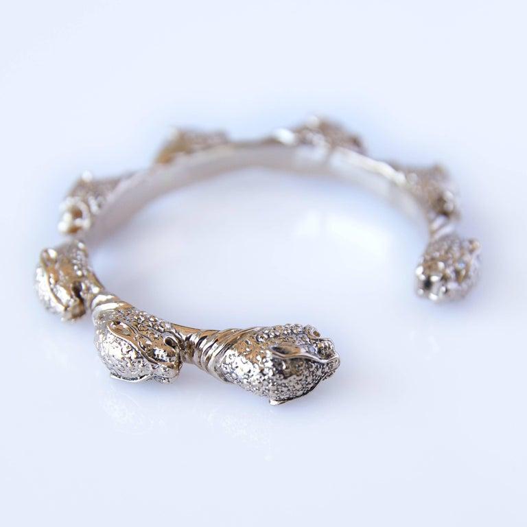White Diamond Jaguar bracelet Arm Cuff in Bronze J DAUPHIN