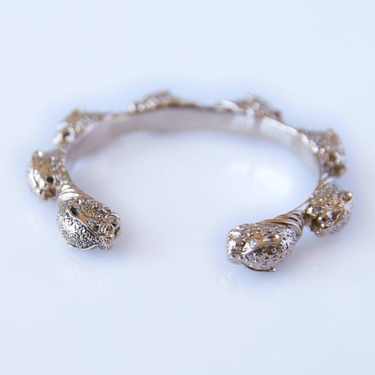 Contemporary White Diamond Jaguar Bracelet Arm Cuff Bronze J DAUPHIN For Sale