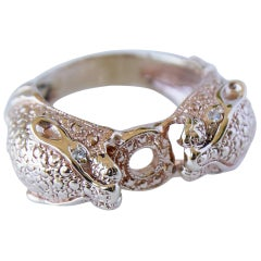 White Diamond Double Head Jaguar Ring Bronze Animal Ring J Dauphin