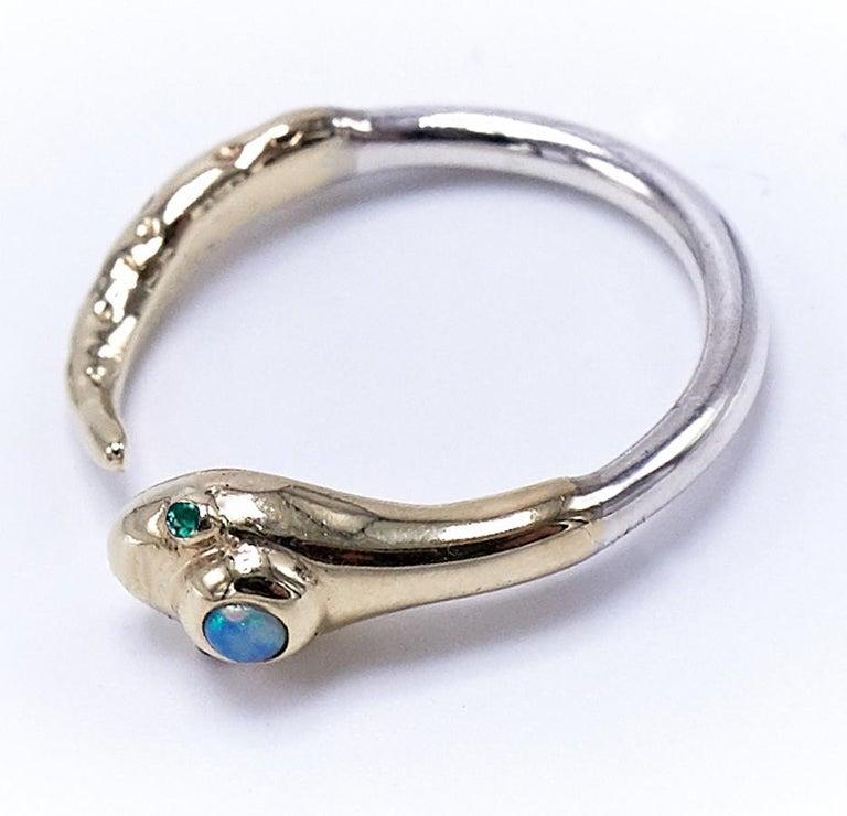 Schlangen Verlobungsring Aus Gold Und Silber Mit Opal Und Smaragd J