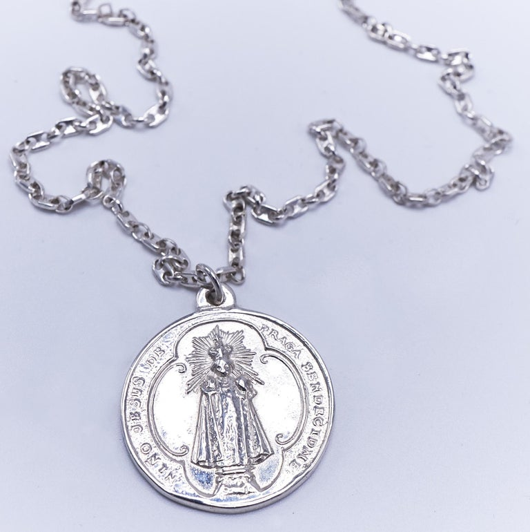 Black Diamond Virgin Mary Miraculous Medal  Silver Necklace J Dauphin  J DAUPHIN necklace