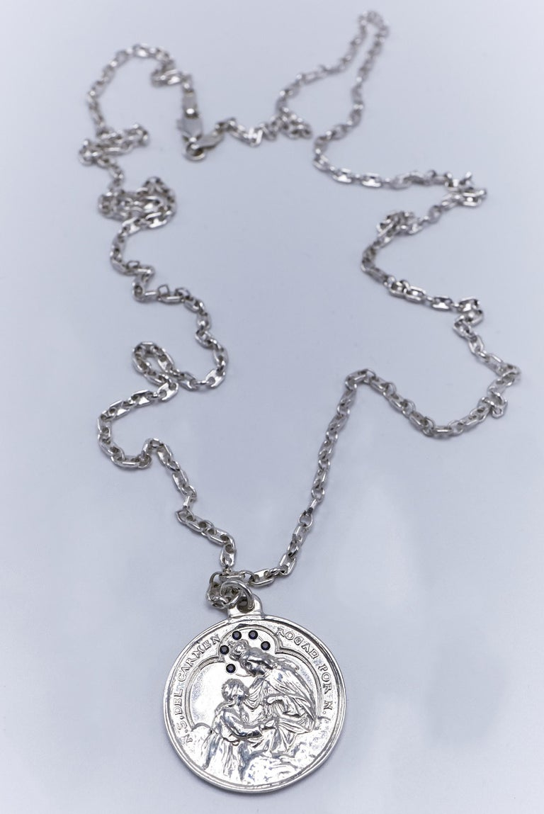 Contemporary Black Diamond Virgin Mary Miraculous Medal  Silver Necklace J Dauphin For Sale