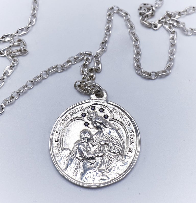 Black Diamond Virgin Mary Miraculous Medal  Silver Necklace J Dauphin In New Condition For Sale In Los Angeles, CA