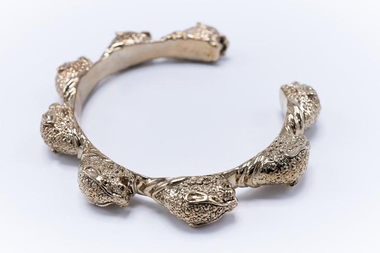 Round Cut Pink Sapphire Jaguar  Arm Cuff Bracelet J Dauphin For Sale