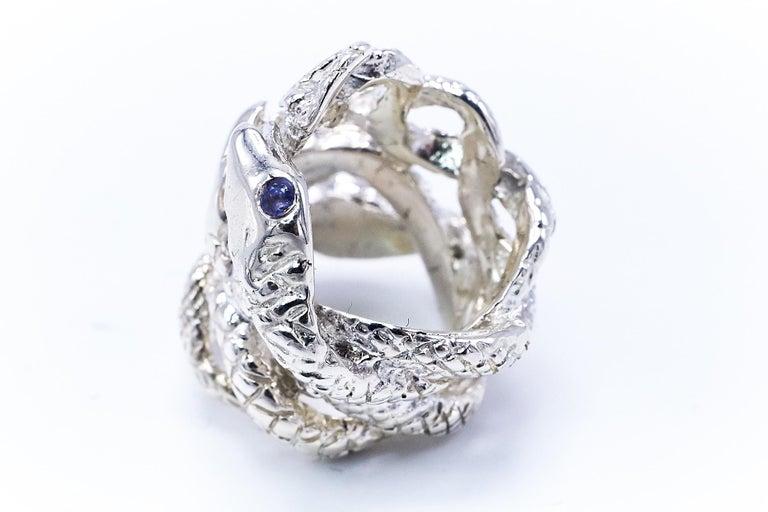 Four Head Snake Ring Tanzanite Silver J DAUPHIN  J DAUPHIN