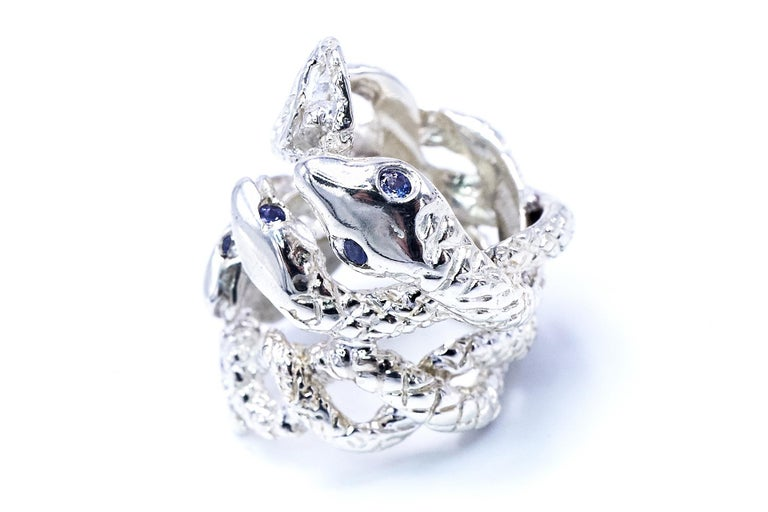 Contemporary Four Head Snake Ring Tanzanite Silver J DAUPHIN For Sale
