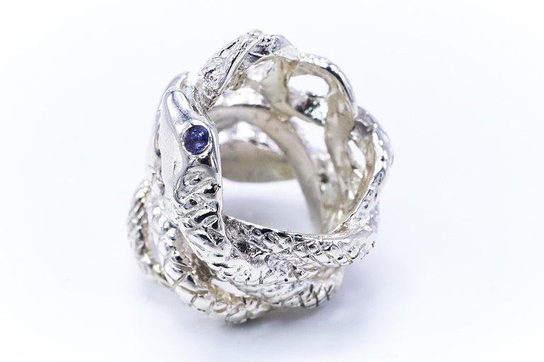 Round Cut Four Head Snake Ring Tanzanite Silver J DAUPHIN For Sale