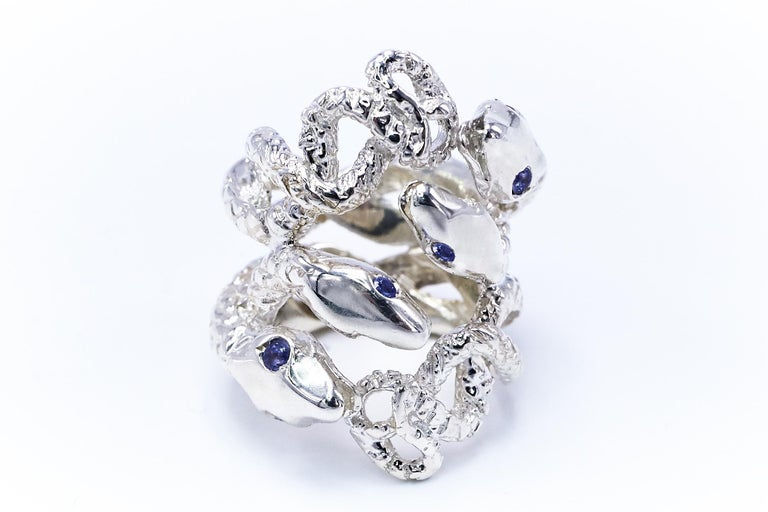 Four Head Snake Ring Tanzanite Silver J DAUPHIN In New Condition For Sale In Los Angeles, CA