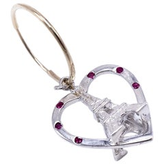 White Gold Ruby Heart Earring Eiffel Tower Dangle J Dauphin